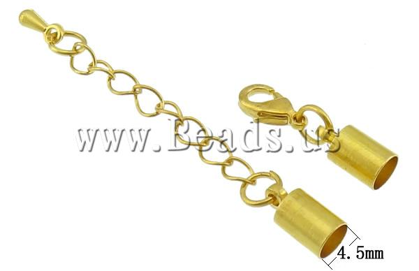 Free shipping!!!Brass Lobster Claw Cord Clasp,Chinese Jewelry Company, with 1.8Inch extender chain, gold color plated, nickel