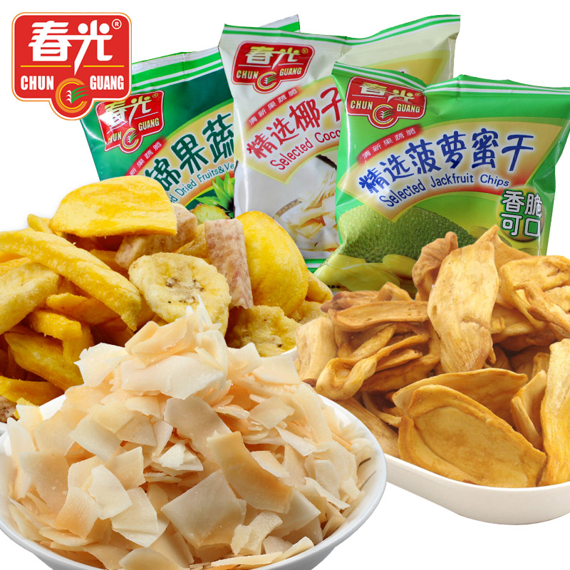 Coconut pieces 15g jackfruit dry 15g assorted dry fruits and vegetables 15g combination three-in 3(China (Mainland))