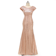 Champagne Gold Long Bridesmaid Dresses Sequined Short Sleeve Floor Length Bridesmaid Dress 2016 Prom Dress Wedding Party Dress(China (Mainland))