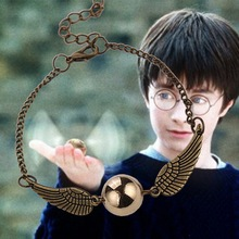Harry Potter Quidditch Golden Snitch Pocket Wings Bracelet Vintage Retro Tone For Men and Women Wholesale chain link bracelet(China (Mainland))