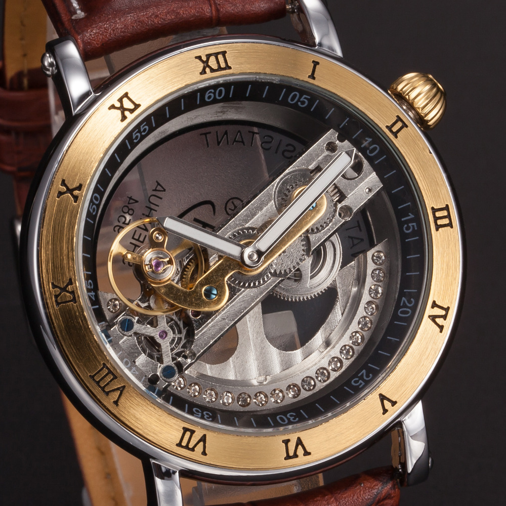 Gold Watch  2016 New fashion Steampunk Transparent Skeleton Mechanical Coffee Leather Mens Wrist Watch<br><br>Aliexpress