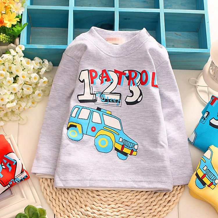 4pc/lot wholesale kids t shirts baby tees cotton numbers car children clothing 2015 autumn qk037(China (Mainland))