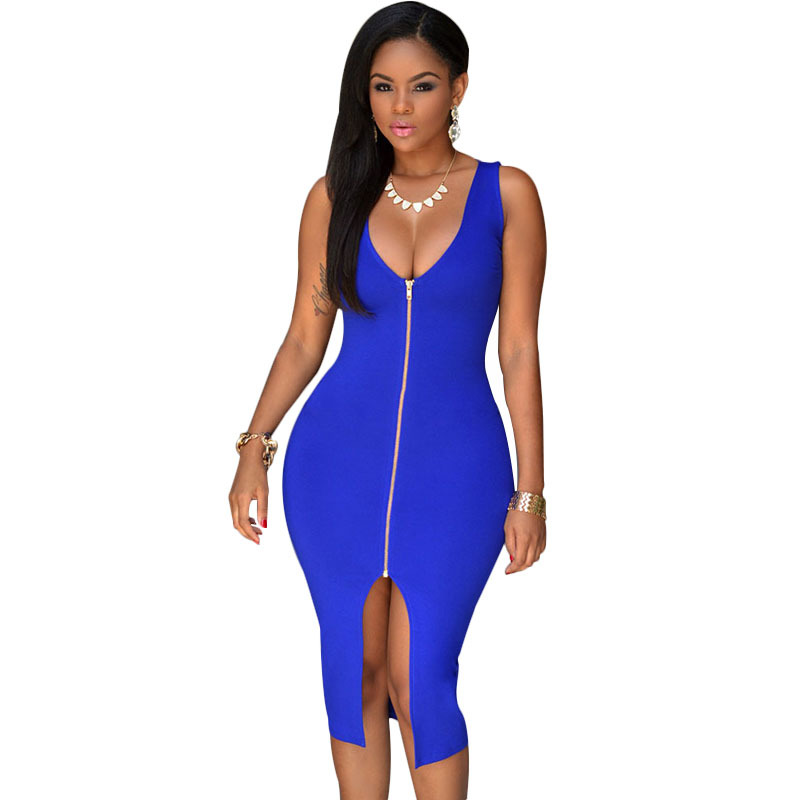 2015 Women Royal Blue Zip Front High Split Deep V-neck Sexy Club Dress Bodycon Package Hip Midi Dress Sexy Night Club Wear(China (Mainland))