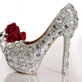 Fashion Woman Hot Selling Crystal Diamond Wedding Shoes High heeled Silver Bridal Shoes Sexy Closed Toe