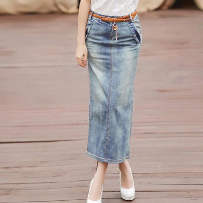 fashion skirts spandex denim back open pockets