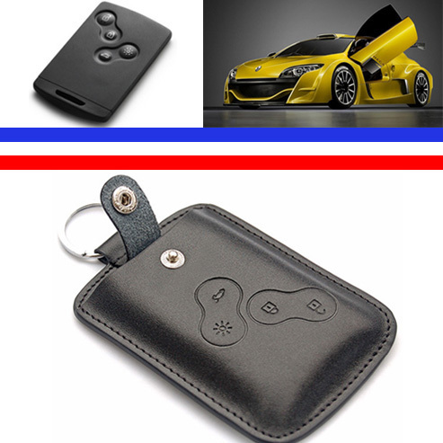 genuine leather key cover wallets keychain keyring protector for Renault Clio Scenic Megane Duster Sandero Captur Twingo koleos(China (Mainland))