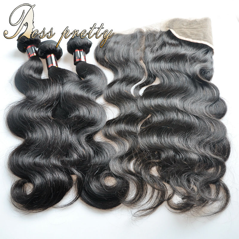 Ear to ear lace frontal closure with bundles Quality 7A body wave Brazilian Virgin hair bundles human hair with Frontal closure(China (Mainland))