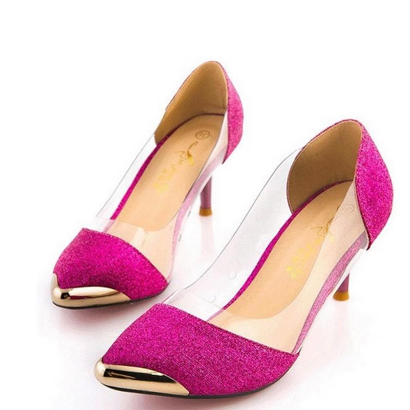 ซื้อ ยี่ห้อฤดูใบไม้ผลิฤดูร้อนเงินmedผู้หญิงรองเท้าแต่งงานต่ำส้นผู้หญิงปั๊ม6.5เซนติเมตรแหลมนิ้วเท้าปั๊มพื้นสีแดงzapatos mujer tacon