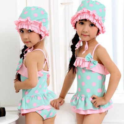 2015 New Girls Summer Swimsuits Kids Beach Swimming Wear &amp; Bathing Suit Girls One-Piece Swimsuit Polka Dot Design Green Color<br><br>Aliexpress