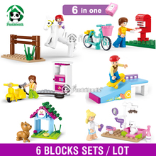 2015 New 6 Pcs Building Blocks Set Compatible with lego Friends Toy Figures DIY Bricks Toys for Girls
