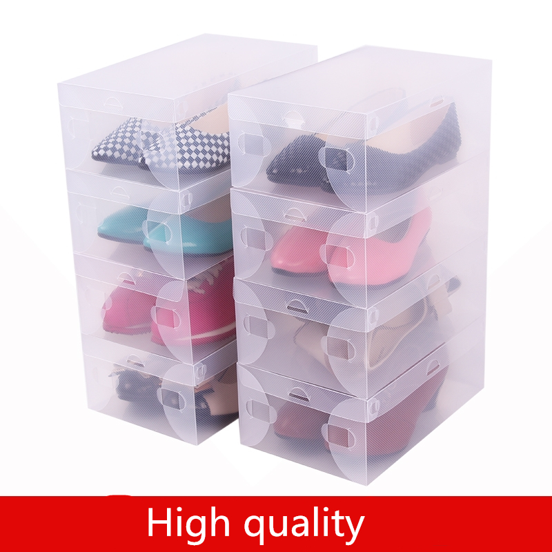 Free Shipping 10 Pack Foldable Clear Plastic Shoe Storage Transparent Boxes Container for Shoes Closet Organization Stackable(China (Mainland))