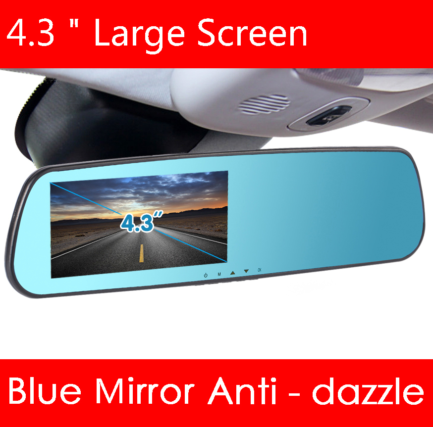 "4.3"" Larger screen car camera rearview mirror auto dvr parking recorder video registrator camcorder full hd 1080p night vision(Hong Kong)"