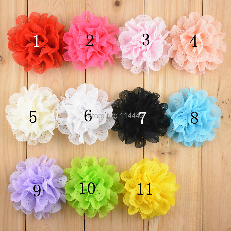 50pcs/ lot 11 colors 8cm Lace Chiffon Hair Flowers Flat Back baby hair headbands flowers accessories - Belle Cute Boutique store