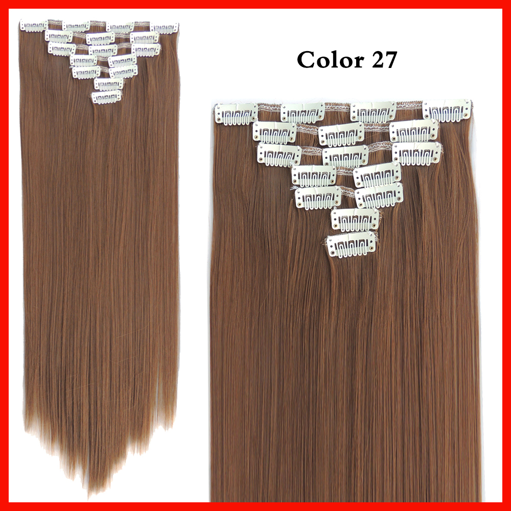 22 inch straight golden brown hair extentions 7pcs/set clip ins extensiones hair piece 130g synthetic hair extensions color 27<br><br>Aliexpress