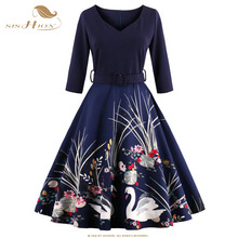 Buy SISHION New Women Dress 2017 Half Sleeve Print Plus Size Swing Vintage Dress Wine Red Navy Blue Elegant Black Dresses VD0423 for $22.75 in AliExpress store