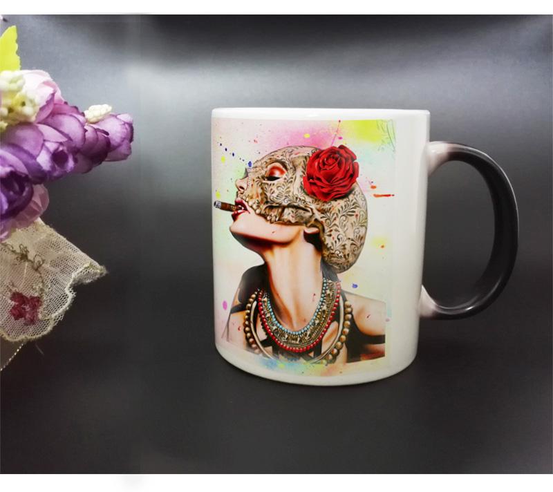 Magic Color-Changing Ceramics Mug Cup Tea Coffee Hot Heat transfer Printing with Red Sexy Smoking Girl(China (Mainland))