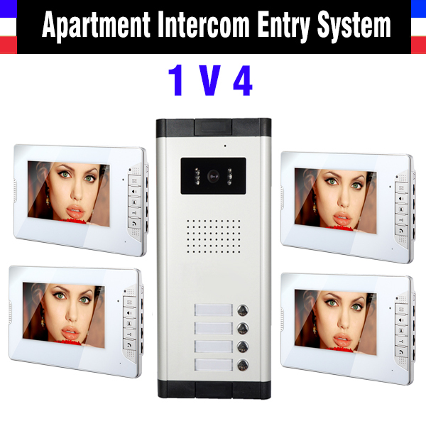 4 Units Apartment Intercom System 7 Inch Monitor Video Intercom Doorbell Door Phone Apartment Intercom Video Door Camera kits<br><br>Aliexpress