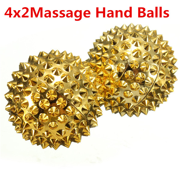 Best Promotion 4x2 gold Hand Body Acupressure Magnetic Spiky Massage Acupuncture Ball 32mm Healthy Care tool(China (Mainland))