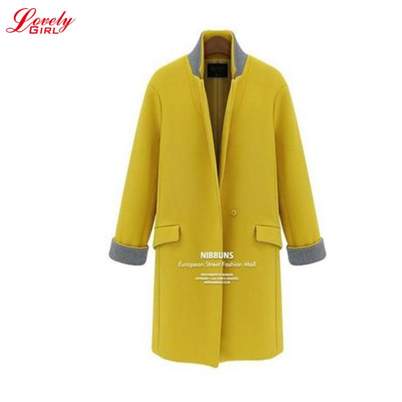 XL - 5XL Plus Size Wool Coats For Women 2015 Winter Single Button Slim Woolen Long Coat Female 2 Colors Hot Sale L611(China (Mainland))