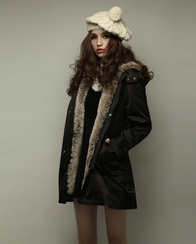 Fur Lined Parka Coat - Black Coat