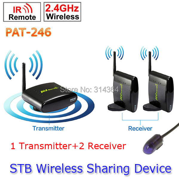 1 Transmitter to 2 Receiver PAT-246 Smart 2.4GHz Wireless 250m AV TV Sender wireless ir remote extender For HDTV 8 Channel(China (Mainland))