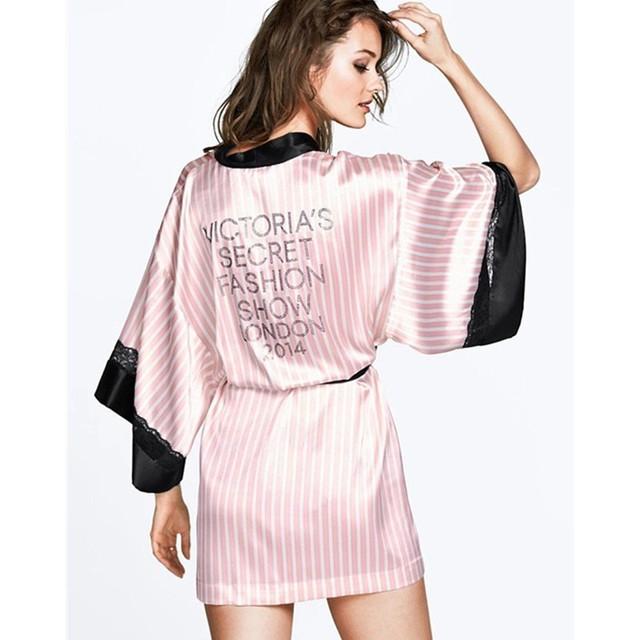 2015 розовый полосатый сатинировки женщин халаты халат сексуальные очаровательной ...