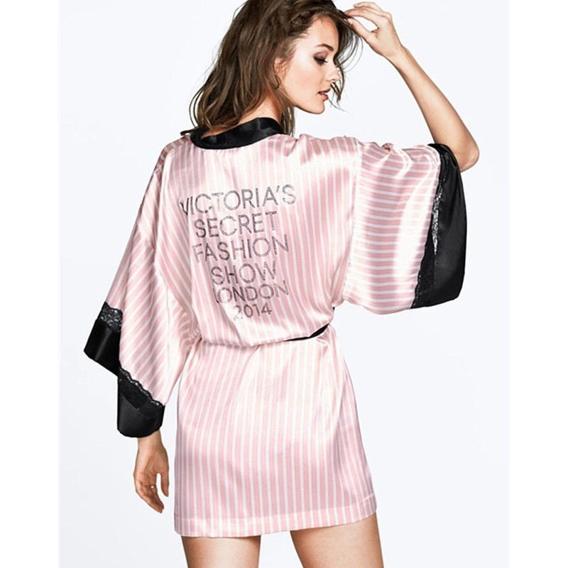 2015 Pink Striped Women Satin Robes Bathrobe Sexy Charming Kimono Black Lace Temptation Lingerie Sleepwear One Size NR004Одежда и ак�е��уары<br><br><br>Aliexpress