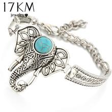 17KM Vintage Silver Color Bracelet Owl Elephant Women Bohemian Turquoise Charm Bracelets Bangles Boho Jewelry Crystal Pulseras(China (Mainland))
