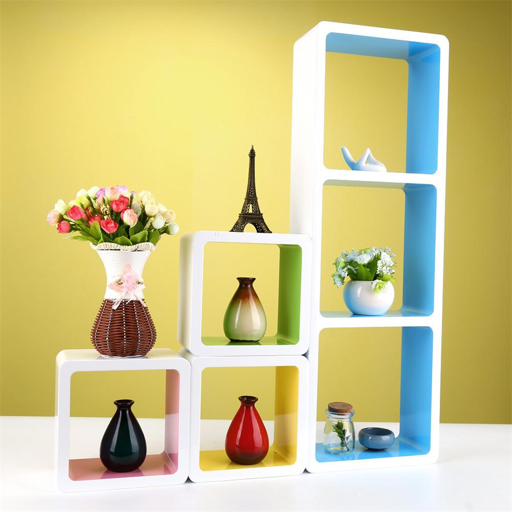 Modern Set of 6 Floating Wall Shelves Storage Cube Decorative Unit Shelf Display Rack(Hong Kong)