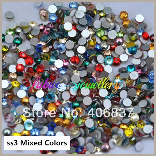 Free Shipping 1440pcs Lot ss3 1 3 1 5mm Mixed Colors Flat Back Nail Art Glue