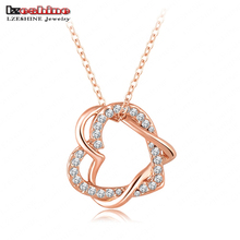 Valentines Gift Alloy Metal Heart Pendant Necklace Pave Austrian Crystals Fashion Jewelry Mix Colors Options LN-NL0006