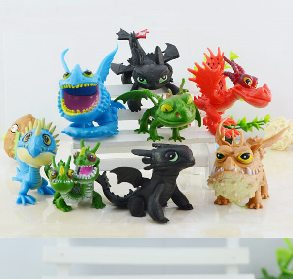 50Sets/Lot How to Train Your Dragon 2 PVC 5.5cm-7.5cm Action Figures Toy Doll NightFury Toothless Dragon EMS Free<br><br>Aliexpress