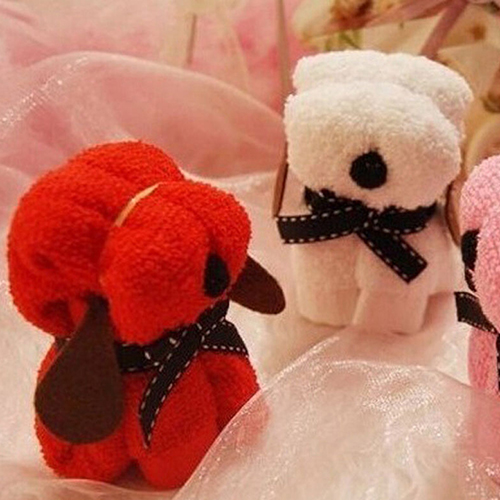 Hot 1pc  Dog Cake Shape Towel Cotton Washcloth Wedding Gifts Present 1V7M 5Y2A