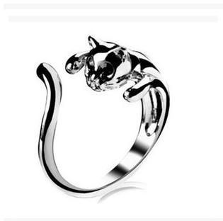 3 Piece Cool Silver Plated Kitten Cat Ring With Crystal Eyes Gift Women's Jewelry 3055(China (Mainland))