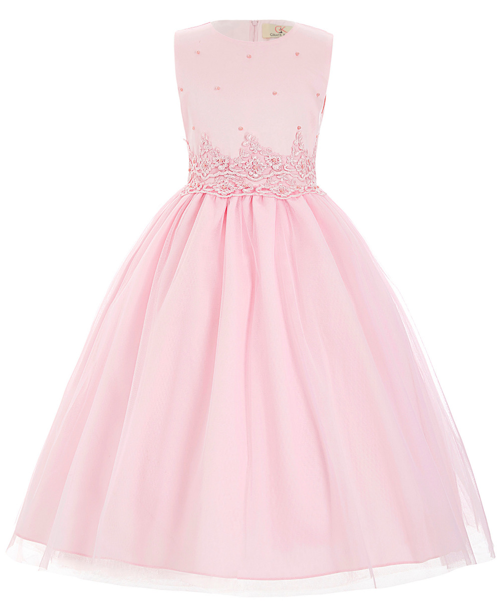 Cheap White Pink Flower Girl Dresses 2016 Elegant Wedding Birthday Party Satin First Communion Dresses for Girls Pageant Dresses(China (Mainland))