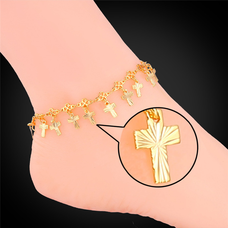 Foot Jewelry Gold Anklets For Women 2015 Fashion Jewelry New Platinum / 18K Real Gold Plated Cross Anklet Bracelet On A Leg A934(China (Mainland))