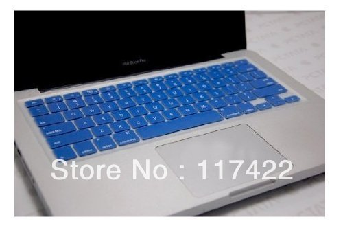 "Blue Silicone Thin Soft Keyboard Cover Skin for Macbook Pro 13"" / 15"" + Clear screen protector"