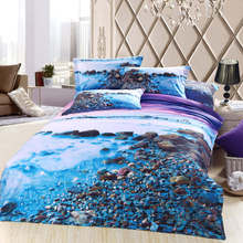 3d oil painting bedding set queen size purple blue stone sea beach print bed linens Egyptian cotton bedspread sheet duvet covers(China (Mainland))