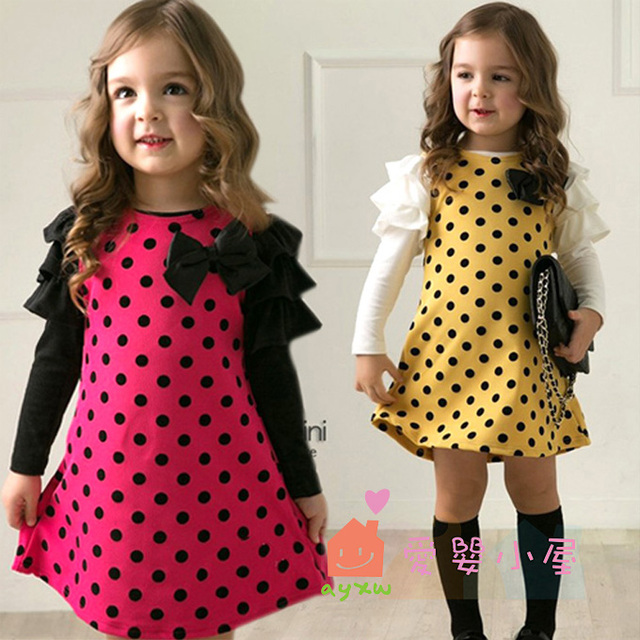 2015 Spring Autumn fashion polka dot butterfly girl long-sleeve children dresses princess dress  girls princess dresses