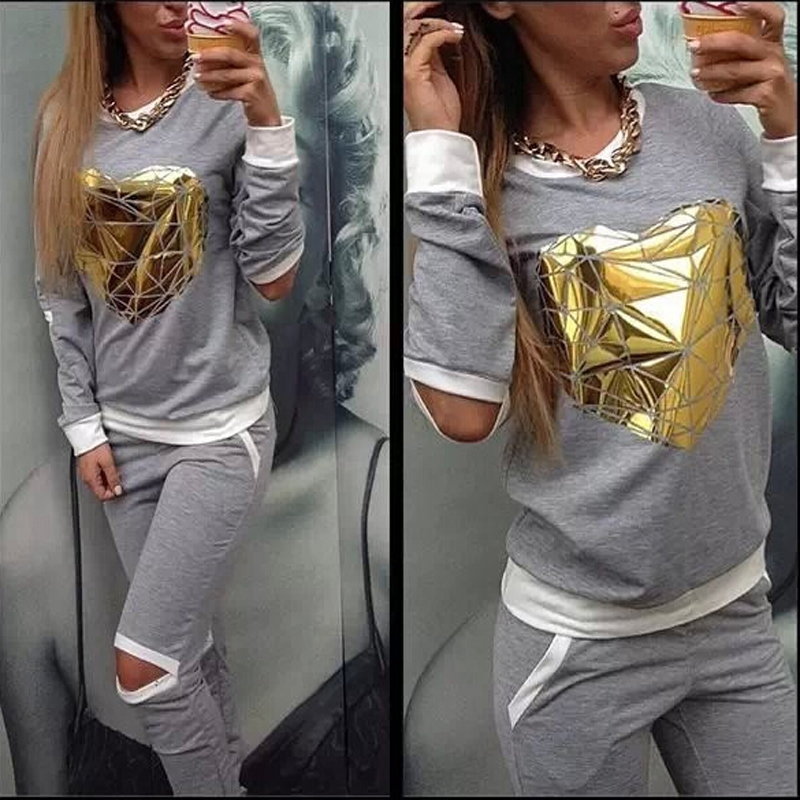 Women Hoodies Sweatshirt +Pant 2016 Hot Gold Heart Hollow Out Lady Tracksuit Sportswear Suits Costumes Tracksuit 2 Piece Set(China (Mainland))