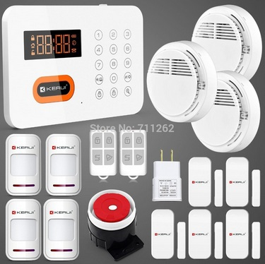 KERUI  Smoke Fire  Sensor  Intelligent Home Appliances Controlling PSTN Keypads Burglar Alarm System Spanish/Russian/English<br><br>Aliexpress