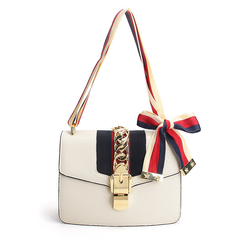 2016 NEW Genuine Leather Vintage Flap handBag Navy Style famous brand Cute Colored ribbon bow-knot Shoulder Crossbody mini Bag(China (Mainland))