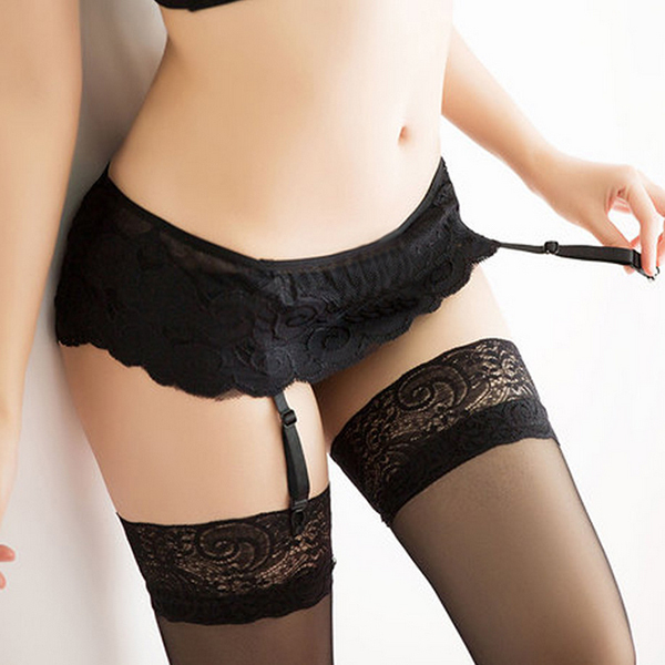 4 Color Thongs Lace Stocking Suspender Sexy Lingeries Dual Layer Garter Belts Free Shipping