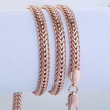 6mm 60.3 cm Braided Foxtail 18K Rose Gold Filled Necklace Unisex Womens Girls Boys Mens Chain 18KGF Wholesale Jewelry LGN268(China (Mainland))