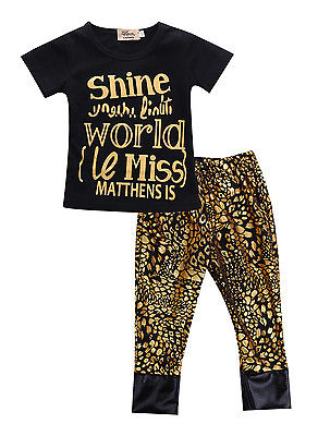 Newborn Baby Girl Tops T-shirt+Pants Cheetah Leggings 2pcs Outfits Set Clothes(China (Mainland))