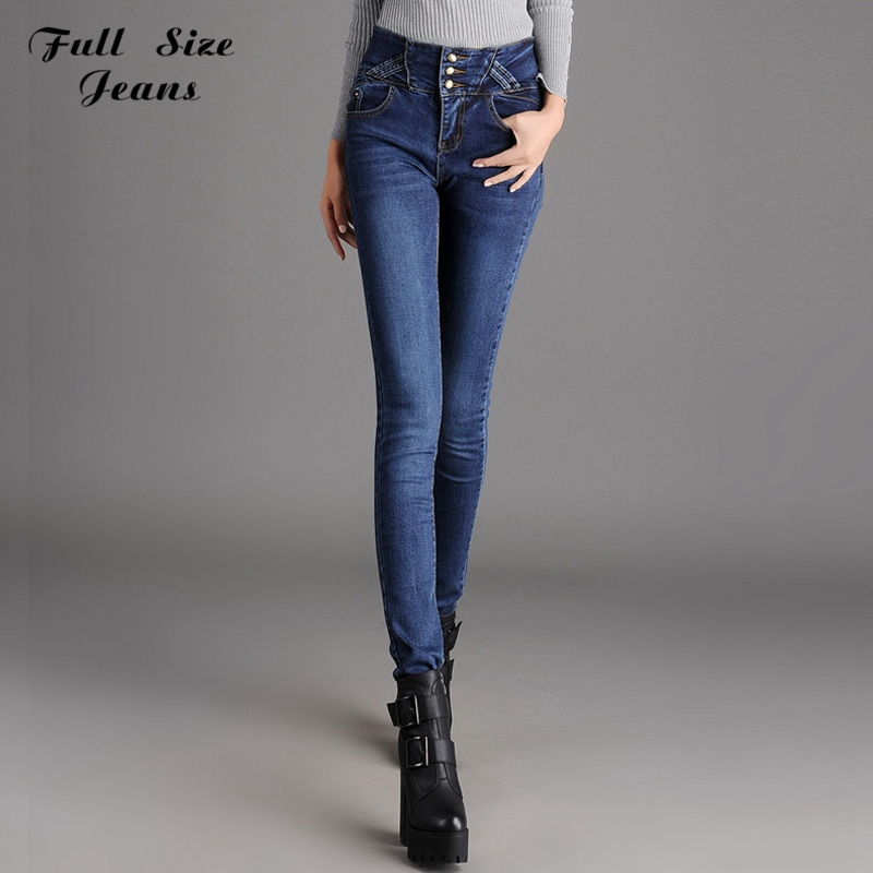 Winter High Waist Button Fly Over Length Skinny Jeans For Tall Girl Extra Long Pencil Pants Plus Size Blue Denim Pants 6XL S 4XL(China (Mainland))