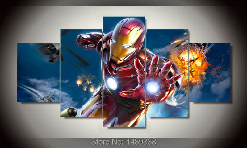 Framed printed cartoon movie iron man 5 piece picture for 5 piece mural