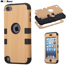 Luxury Fashion TPU PC Wood Grain Hybrid Combo Body Armor Shockproof Case Cover Protector Case For Apple iPod Touch 5 / Touch 6(China (Mainland))