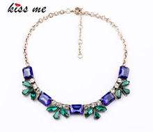 New Styles 2013 Fashion Jewelry  Shiny Glass Flowers Pendant Necklace Christmas Gifts
