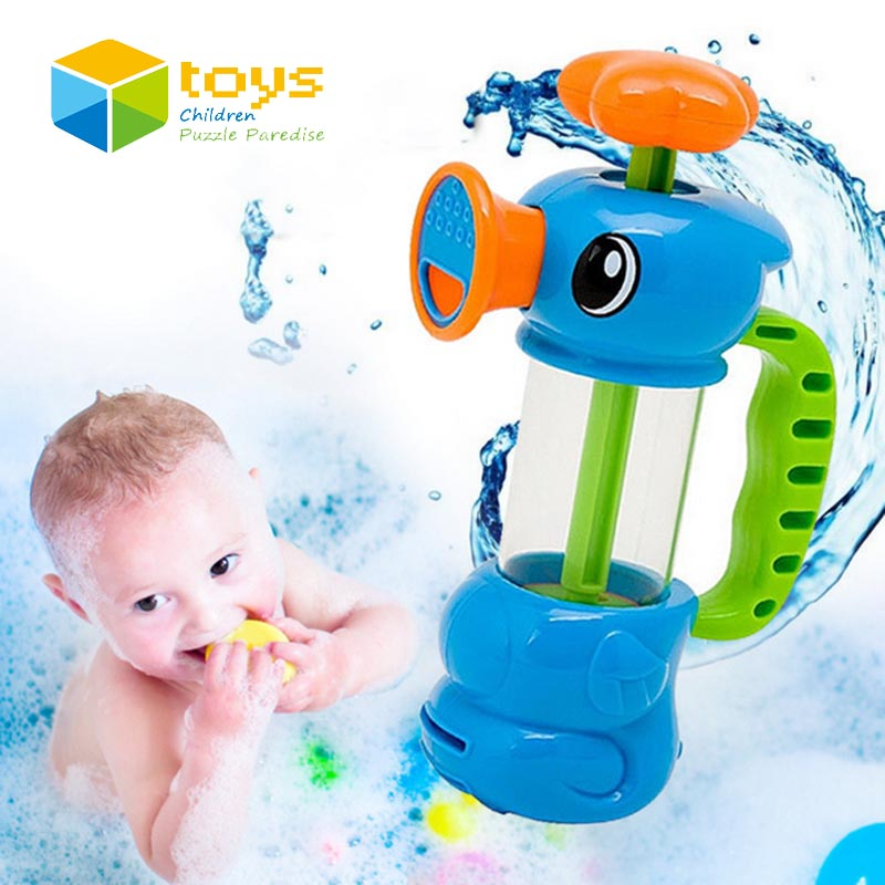 Baby Shower Bath Toys for Children Kids Bathtub Bathroom Swimming Pool Hippocampus Spray Water Pump Beach Toys Educational Gifts(China (Mainland))